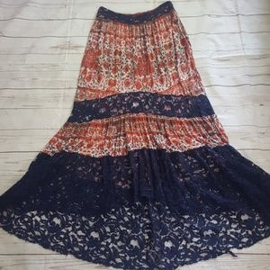 Urban Outfitters Boho Lace Panel Skirt